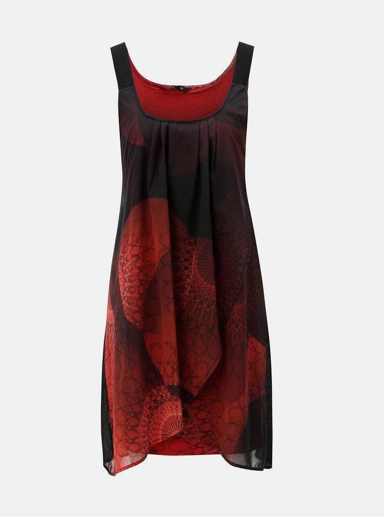 Černo-červené šaty s překládanou přední částí Desigual