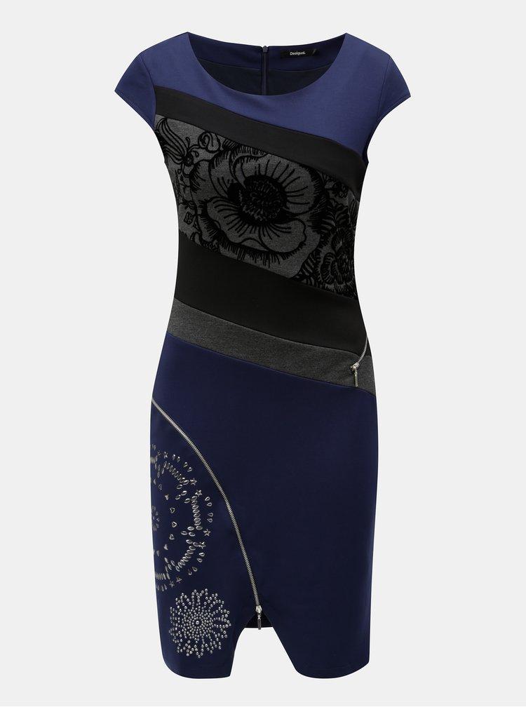 Černo-modré pouzdrové šaty se zipy Desigual