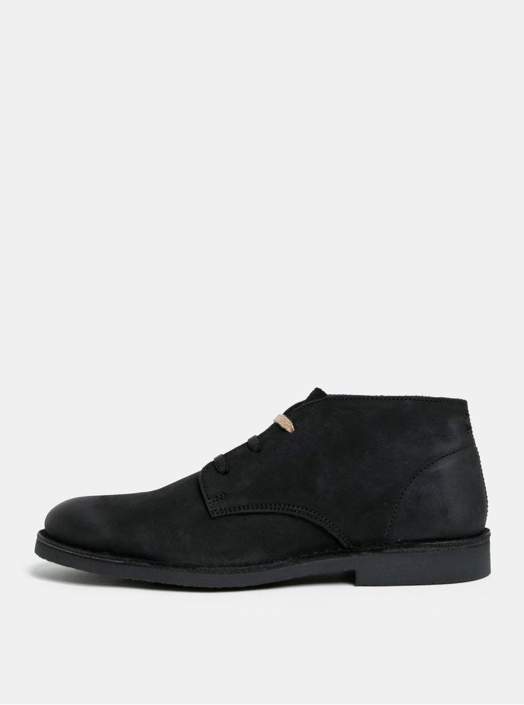 Černé pánské semišové kotníkové boty Selected Homme Royce
