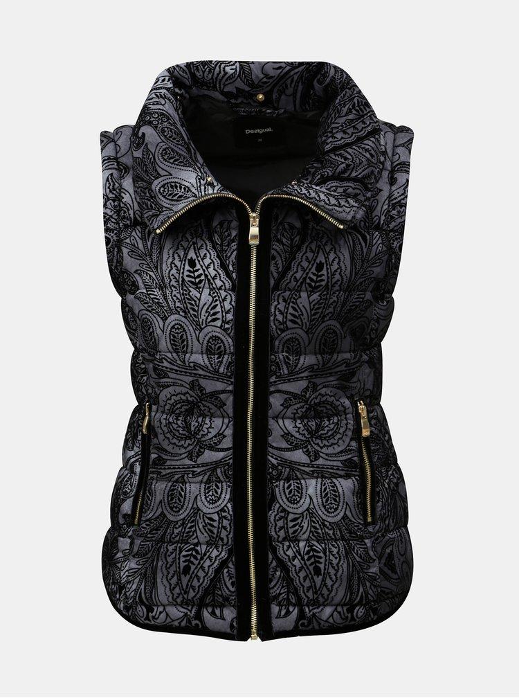 Čierno-sivá vzorovaná bunda/vesta s kožúškom Desigual Alexandra