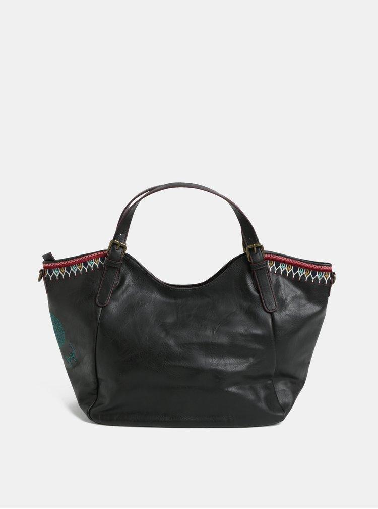 Tmavě hnědá prošívaná kabelka s ornamenty Desigual Siara