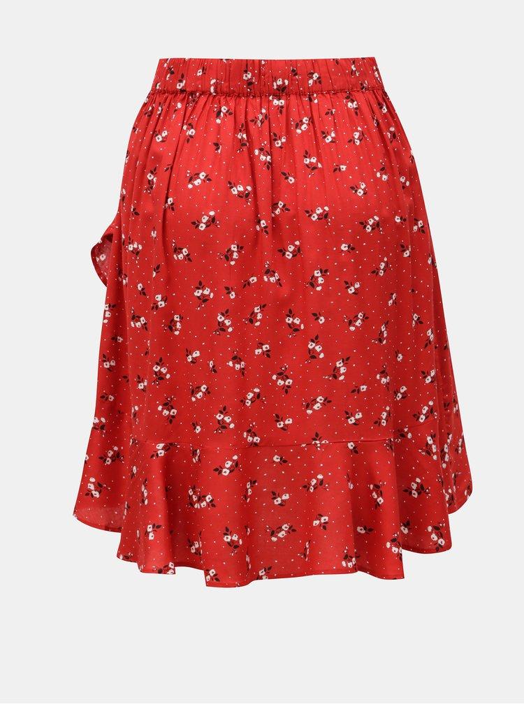 Červená květovaná sukně s volánem Blendshe Trudie
