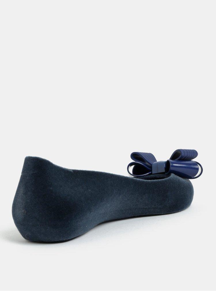 Tmavě modré baleríny v semišové úpravě s mašlí Zaxy Pop Flocket