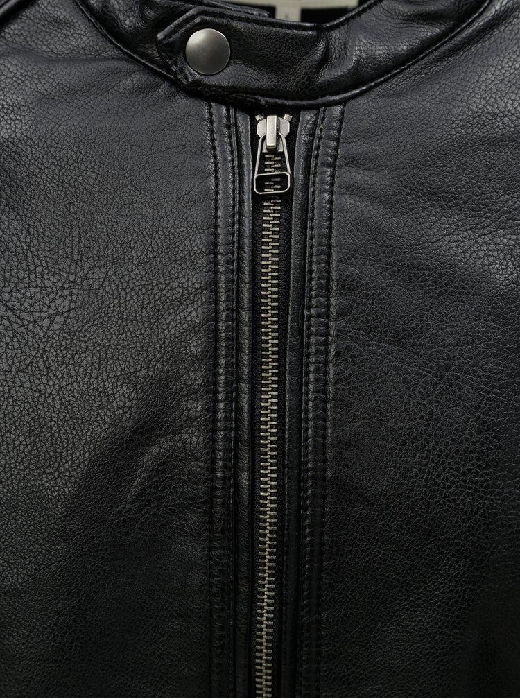 Čierna koženková bunda Jack & Jones Biker