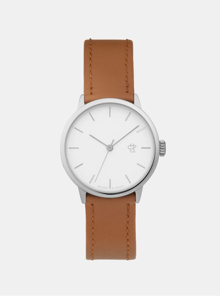 Dámské hodinky s hnědým páskem z veganské kůže CHPO Khorshid Mini Silver