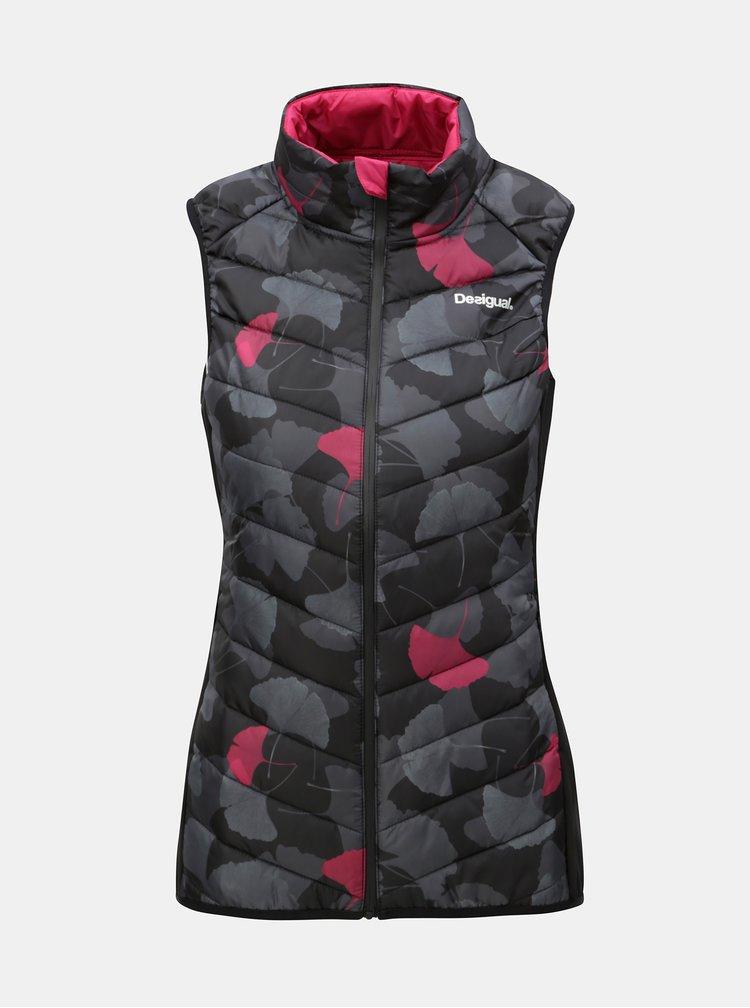 Černá vzorovaná prošívaná vesta Desigual Ginko Dance