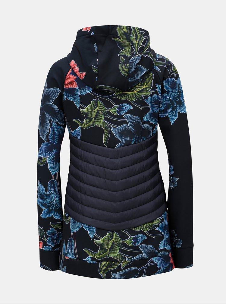 Tmavě modrá vzorovaná softshellová bunda s prošívanými detaily Desigual