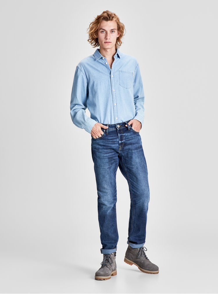Blugi comfort fit albastri melanj din denim cu aspect prespalat Jack & Jones Original