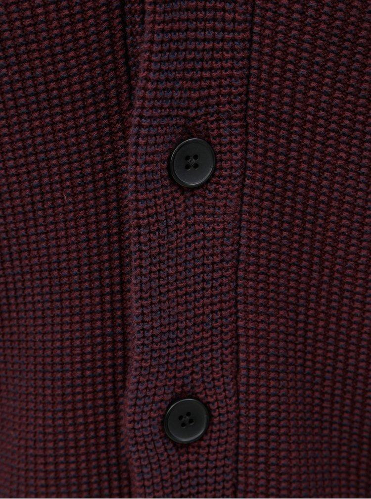 Vínový žíhaný kardigan Jack & Jones Knit