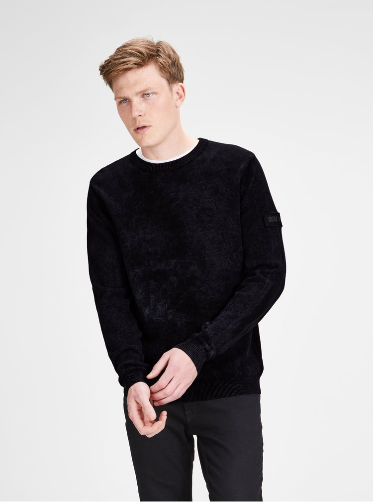 Pulover negru lejer Jack & Jones Knit