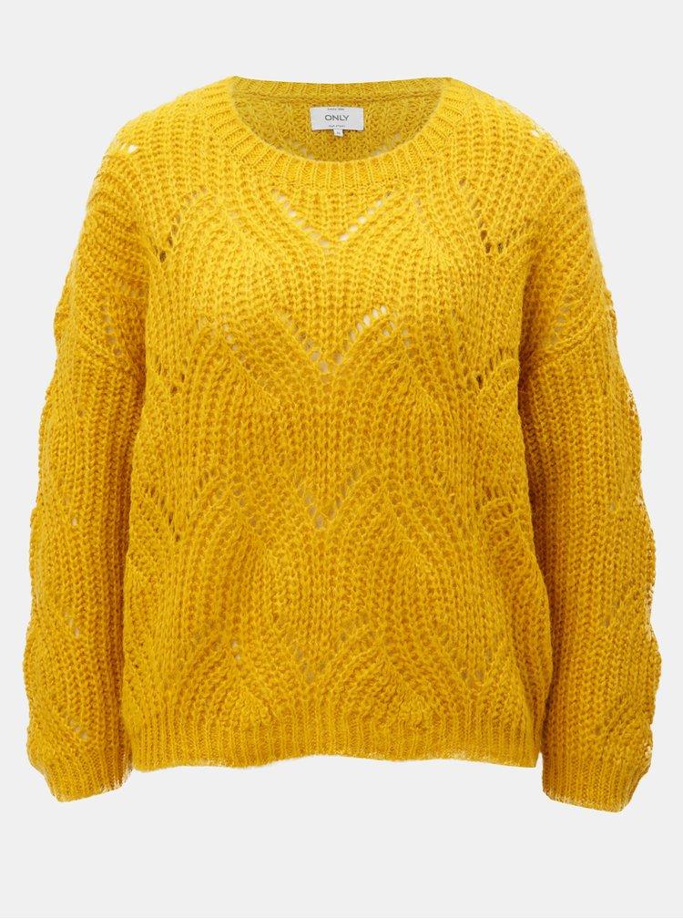 Hořčicový volný svetr s dlouhým rukávem ONLY Havana