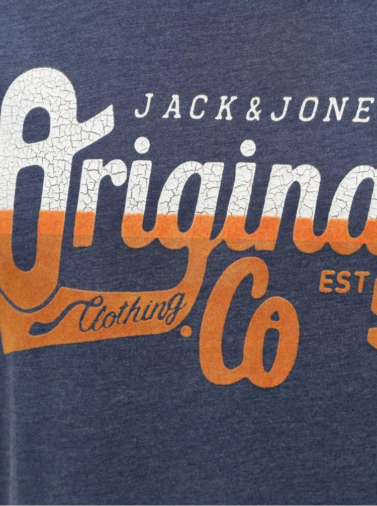 Tricou albastru cu print Jack & Jones Izzle Tee