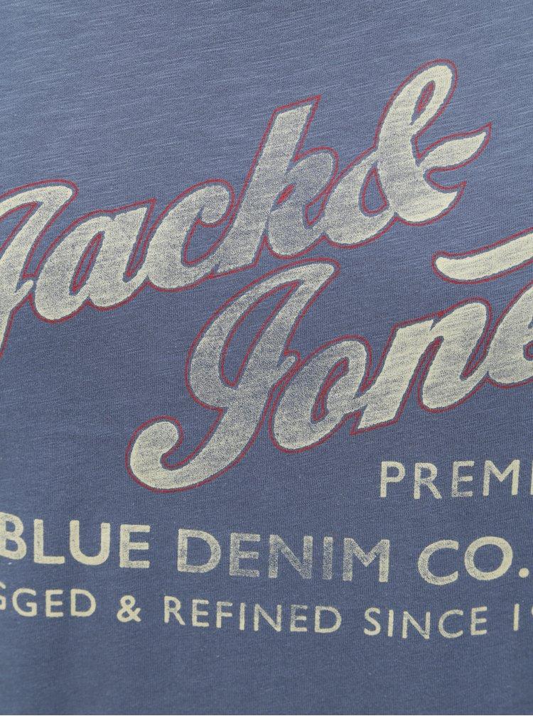 Modré tričko s potiskem Jack & Jones Super Tee