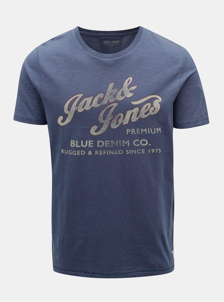 Tricou albastru cu print Jack & Jones Super Tee