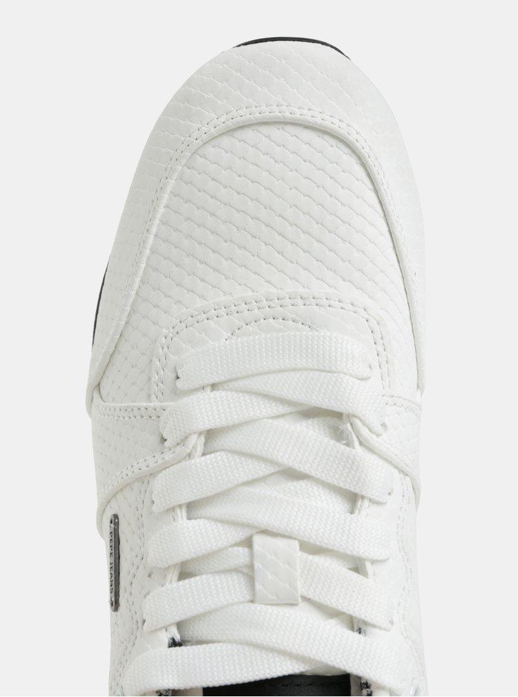 Bílé dámské tenisky s motivem hadí kůže Pepe Jeans Bimba