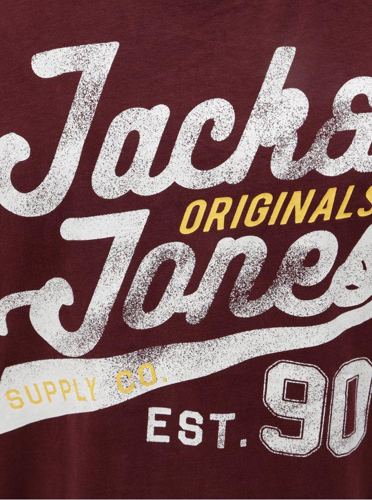 Tricou visiniu cu print Jack & Jones Fara Tee