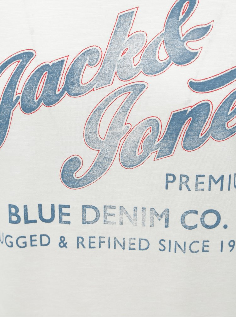 Bílé tričko s potiskem Jack & Jones Super Tee