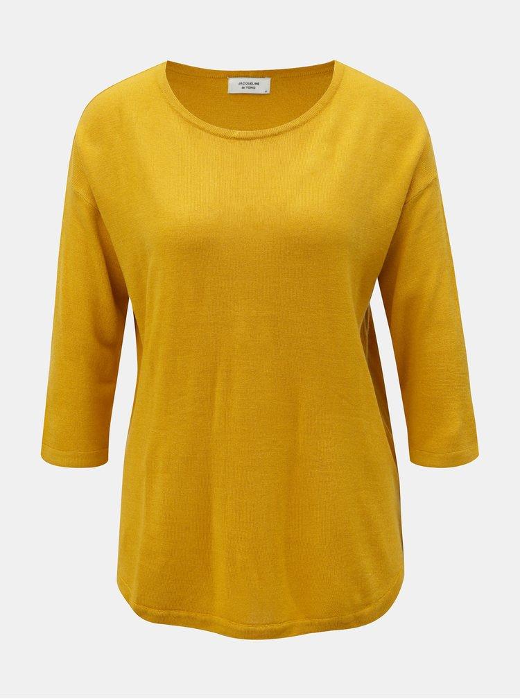 Horčicový lehký svetr s 3/4 rukávem Jacqueline de Yong Hush