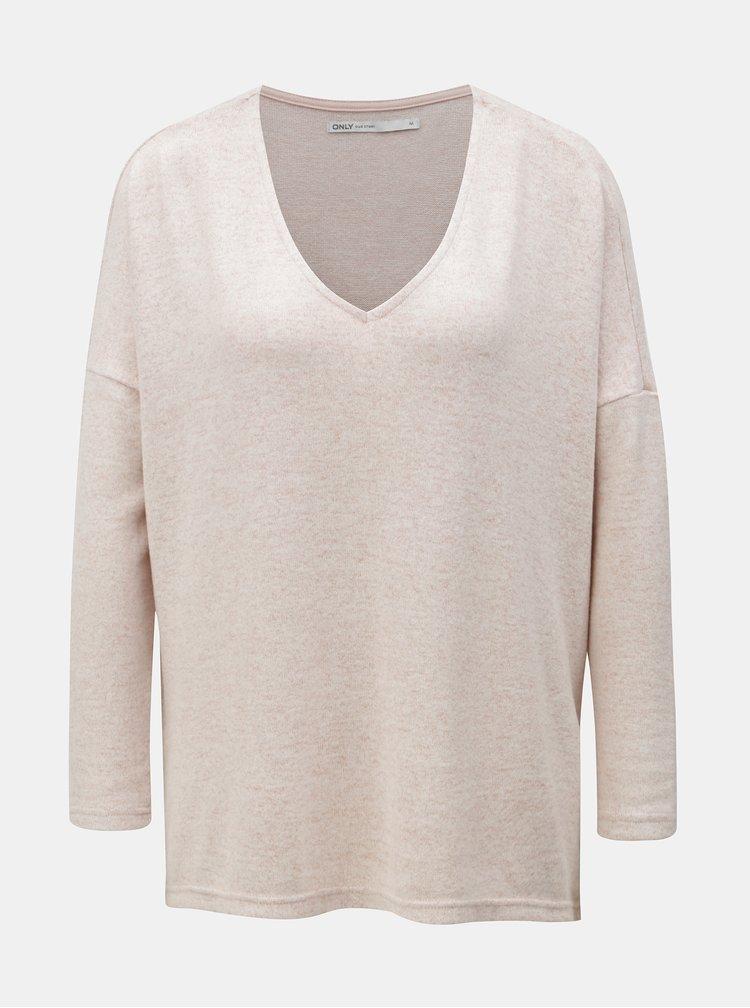 Svetloružový melírovaný sveter s rozparkami ONLY Kleo