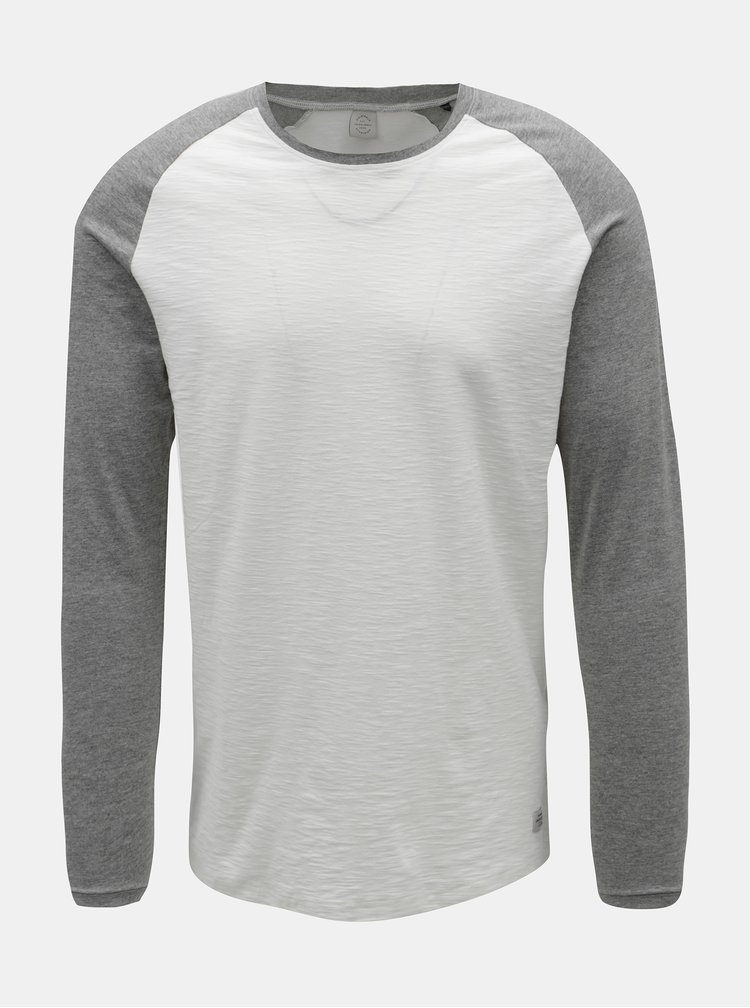 Šedo-bílé pánské žíhané tričko s dlouhým rukávem Jack & Jones