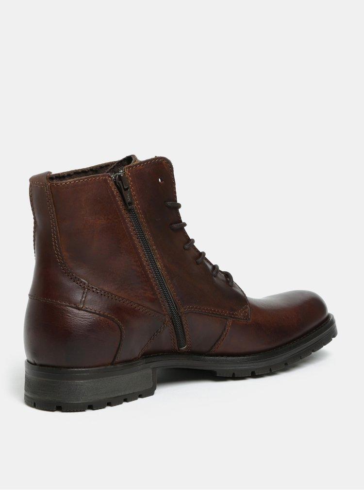Tmavě hnědé pánské kožené kotníkové boty Jack & Jones Worca