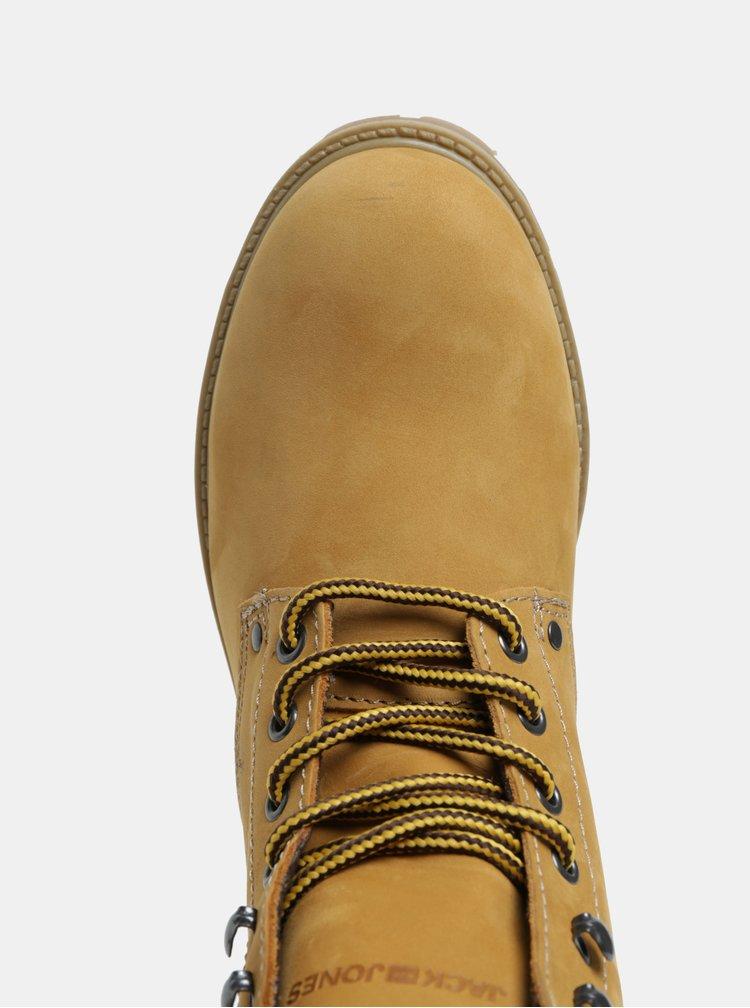 Hořčicové pánské kožené kotníkové boty Jack & Jones Stoke