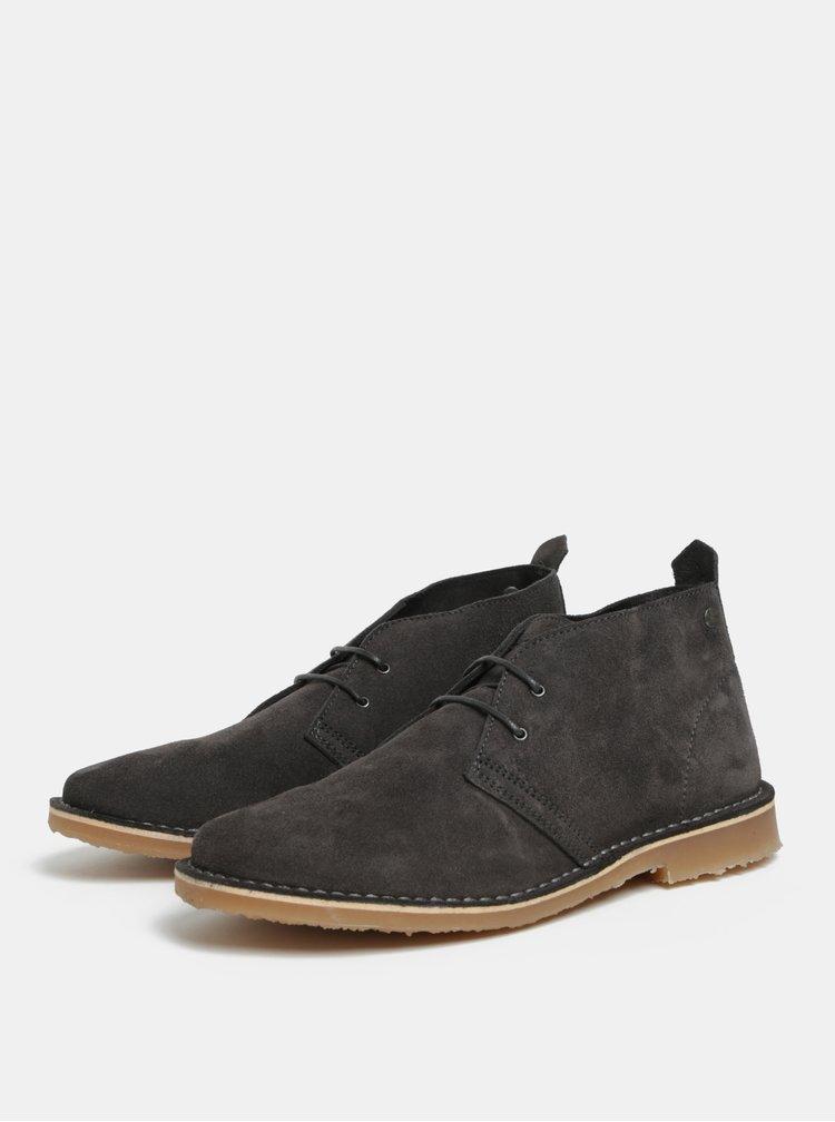 Šedé pánské semišové kotníkové boty Jack & Jones Gobi