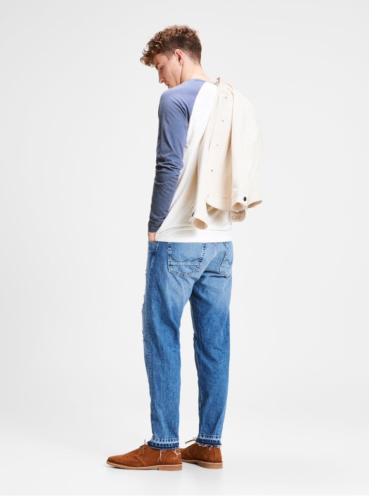 Modro-bílé pánské lehce žíhané tričko s potiskem Jack & Jones
