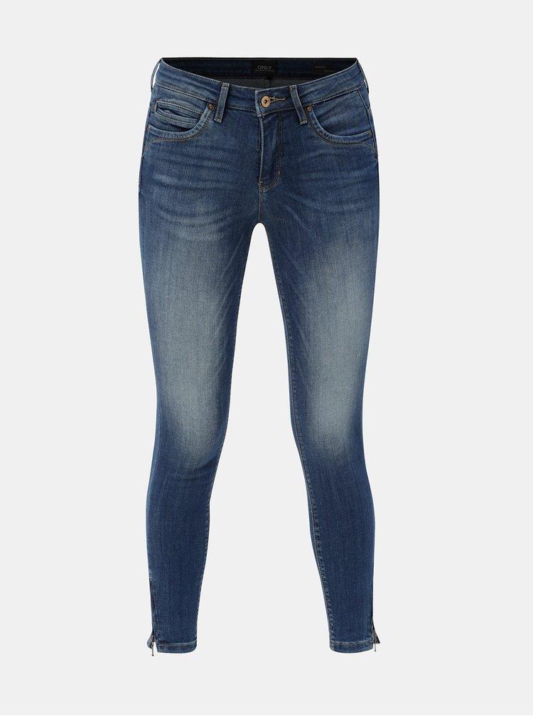 Modré skinny džíny se zipy na nohavicích ONLY