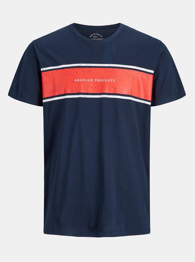 Tricou albastru inchis cu print Jack & Jones Down Tee