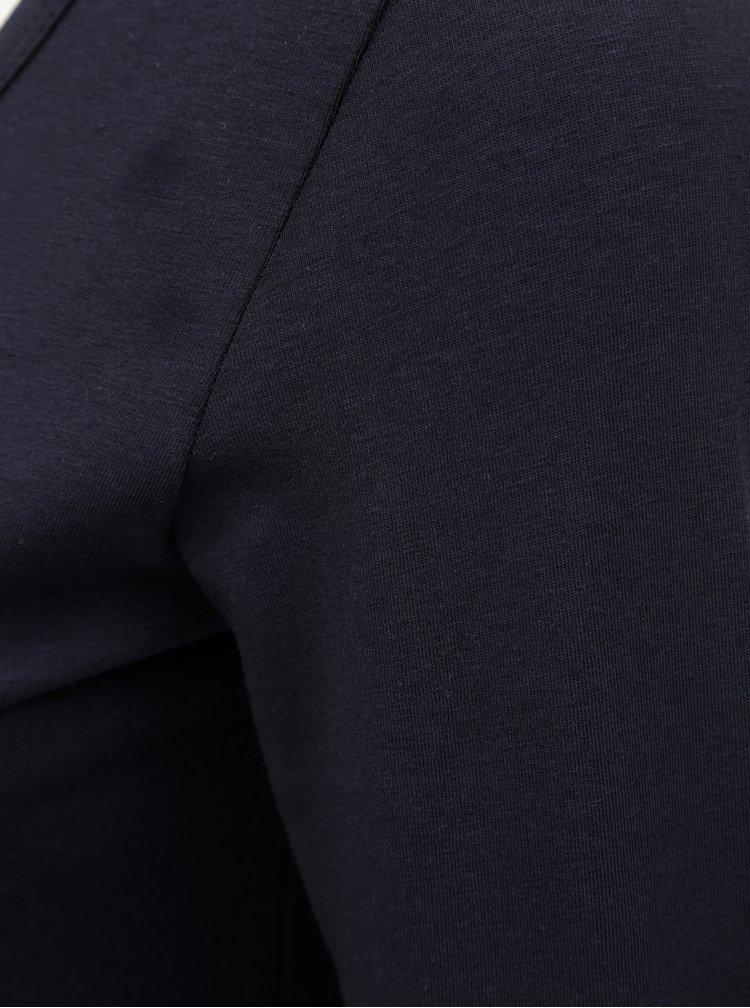 Tmavě modré basic tričko s prodlouženou délkou a dlouhým rukávem Yest