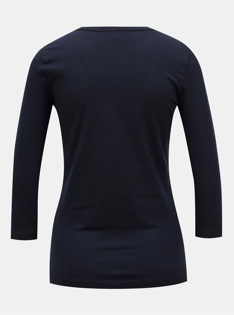 Tmavomodré basic tričko s 3/4 rukávom Yest