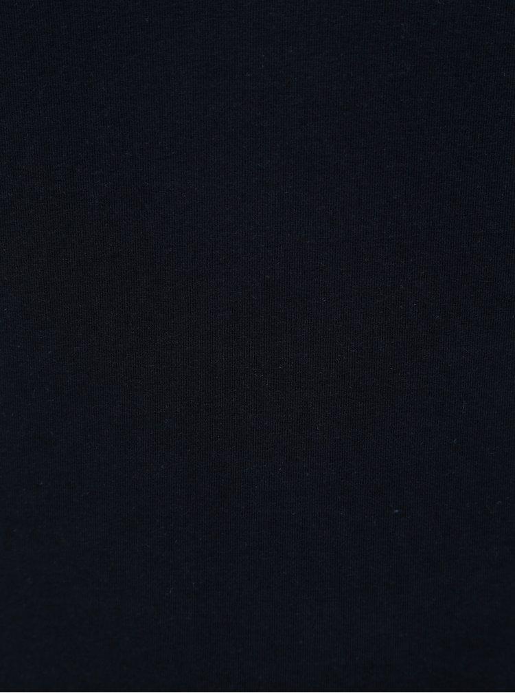 Tricou albastru inchis basic cu maneci 3/4 Yest