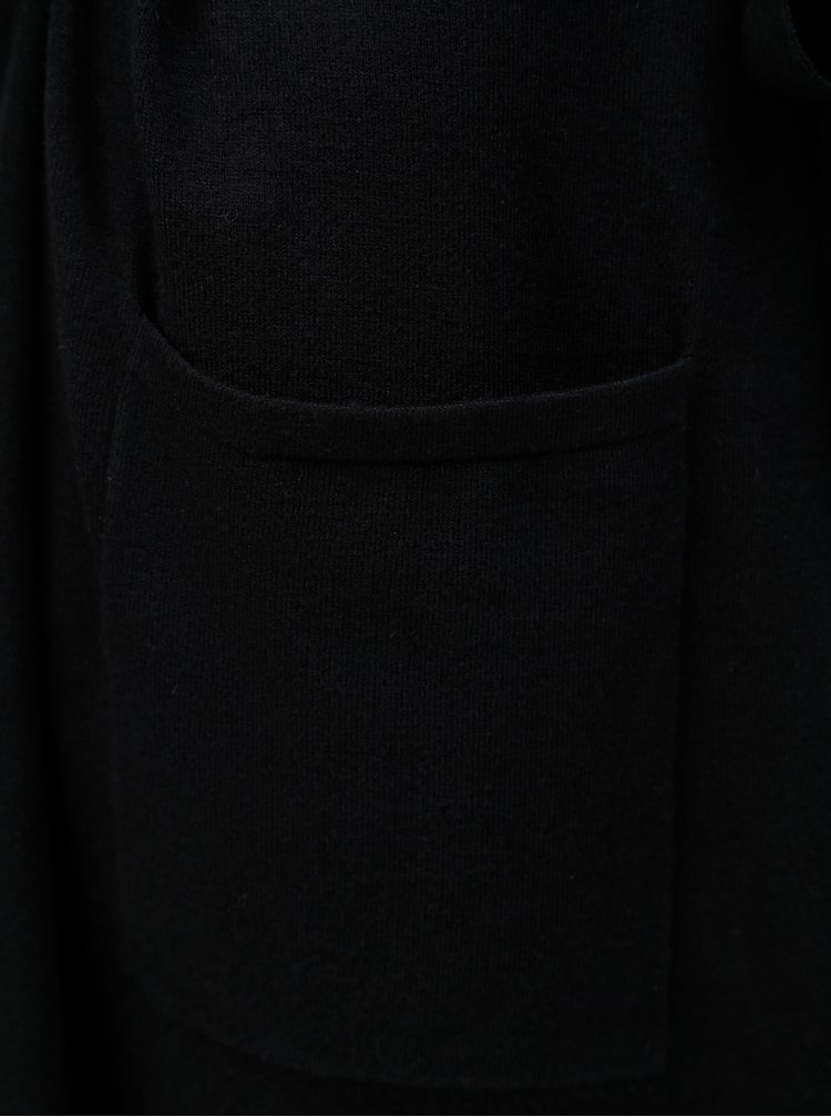 Černý dlouhý kardigan s odnímatelným páskem a knoflíky u krku Yest