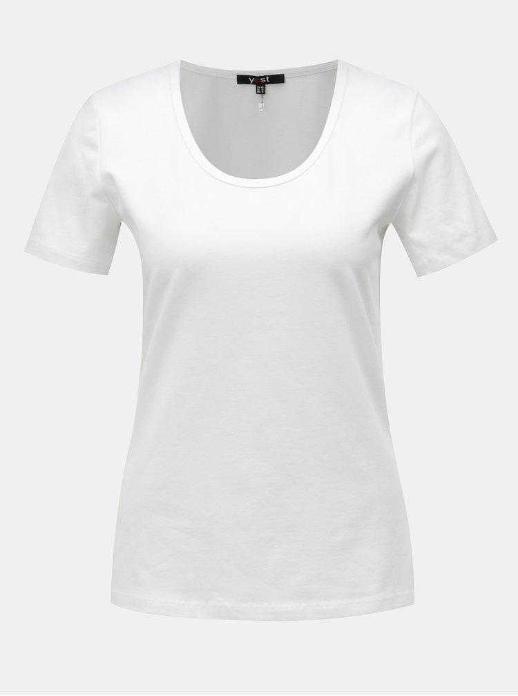 Bílé basic tričko s krátkým rukávem Yest