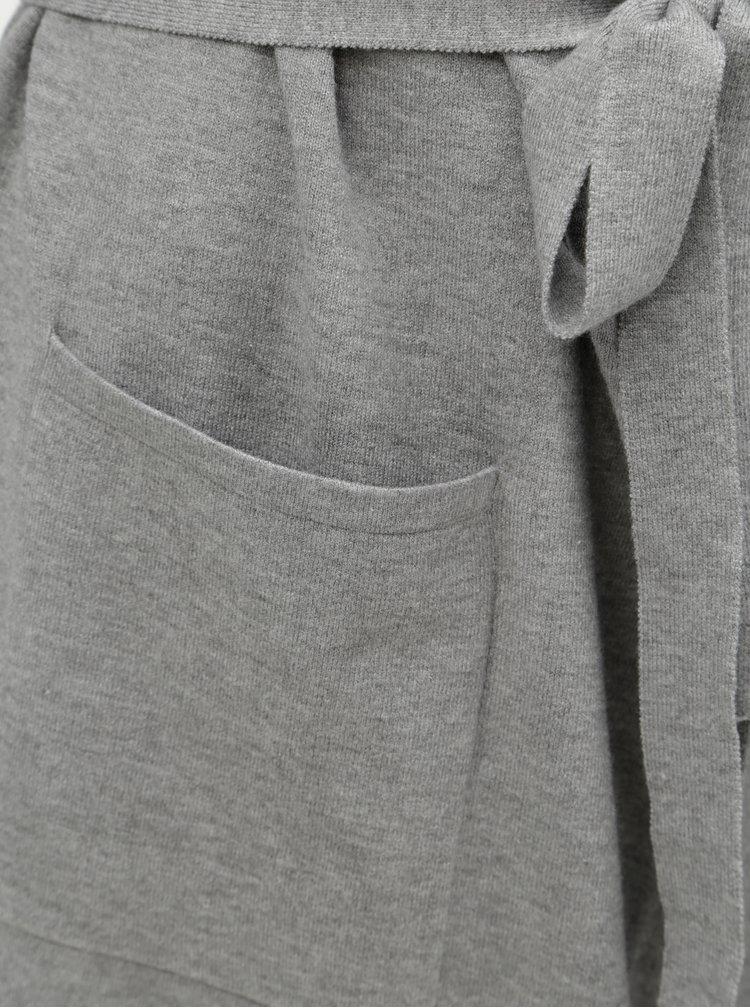 Šedý dlouhý kardigan s odnímatelným páskem a knoflíky u krku Yest