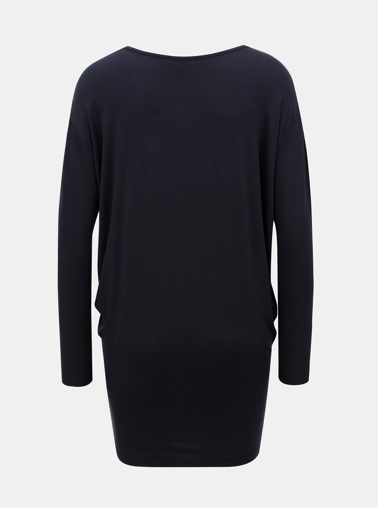 Tmavě modré volné basic tričko s prodlouženou délkou Yest