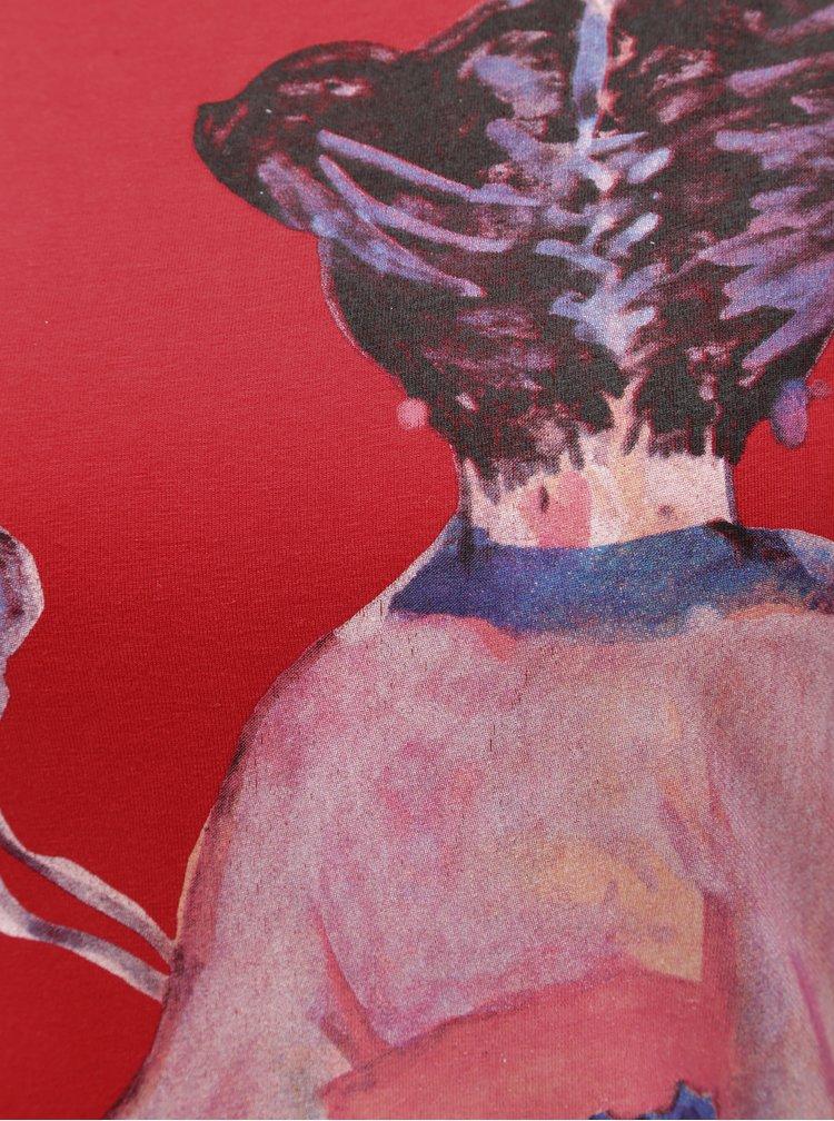 Rochie mulata rosie cu print Desigual Sonora