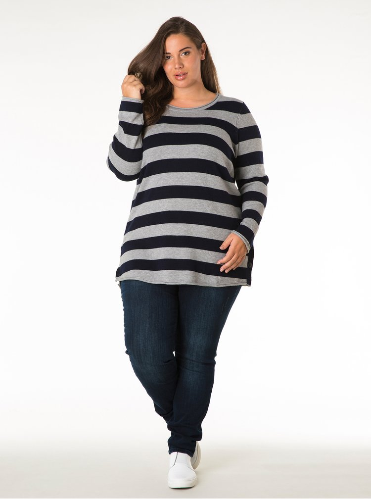 Šedo-modrý pruhovaný svetr s knoflíky na boku Yest