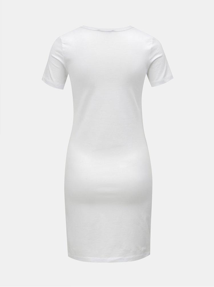 Biele basic šaty s krátkym rukávom Yest