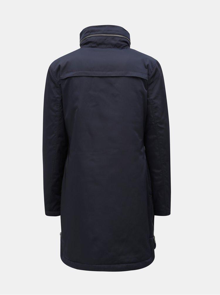 Tmavě modrý kabát s kapucí v límci Yest