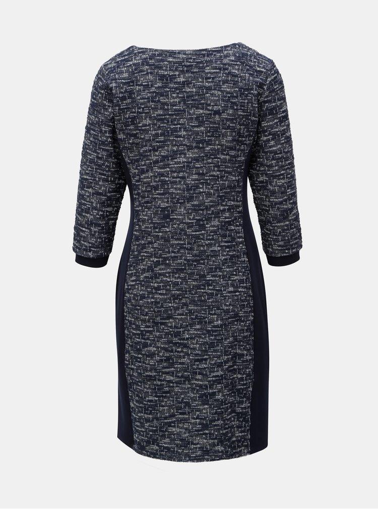 Tmavě modré žíhané šaty s 3/4 rukávem Yest