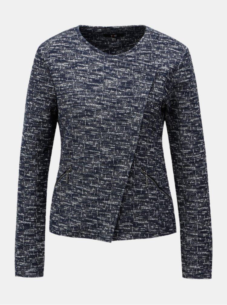 Tmavomodré melírované sako s asymetrickým zipsom Yest