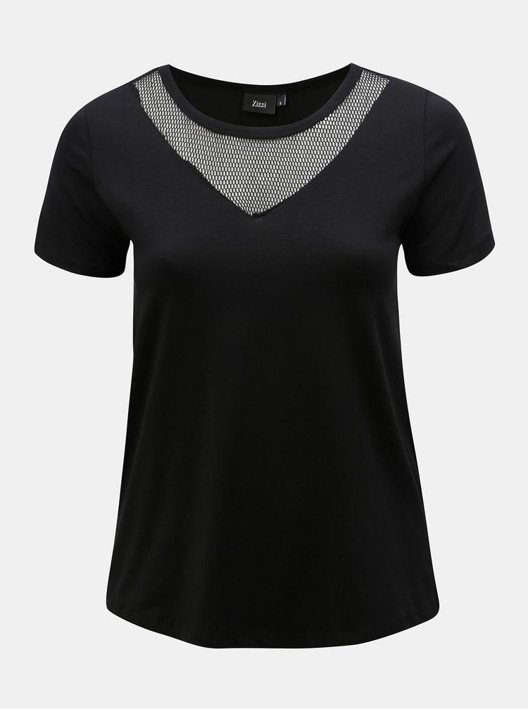 Černé tričko se síťkou v dekoltu Zizzi Cano