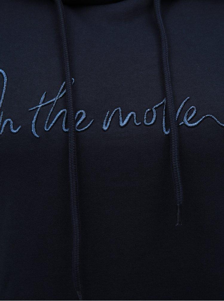 Tmavě modrá mikina s prošívaným nápisem VERO MODA Voyage