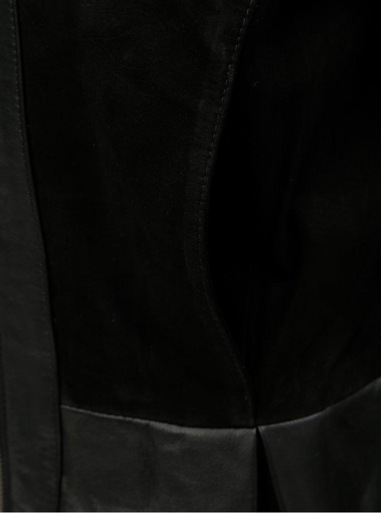 Čierna kožená bunda s vreckami VILA Laja