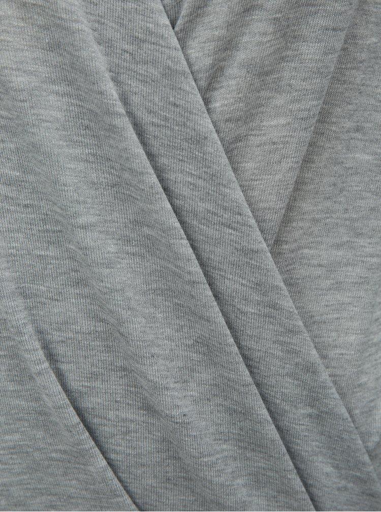 Šedé žíhané tričko s překládaným předním dílem VERO MODA Peja