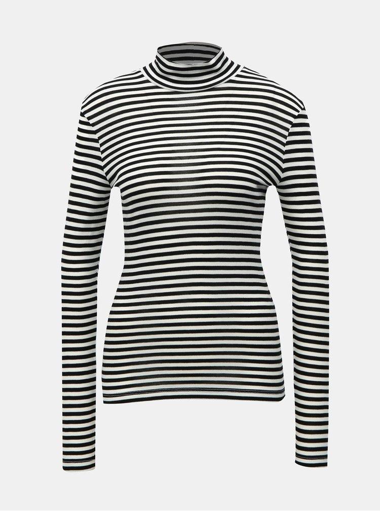 Bielo-čierne pruhované basic tričko so stojačikom VERO MODA Vita