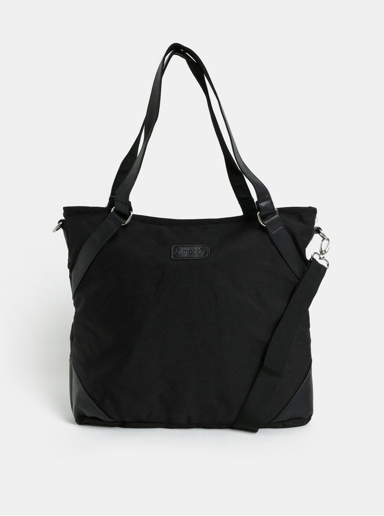 Geanta shopper neagra cu buzunar pentru laptop Meatfly Insanity