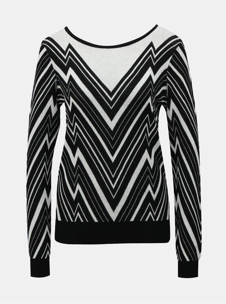 Bielo-čierny vzorovaný sveter VERO MODA Zigga